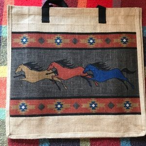 🐎Large Horse Jute Tote Bag